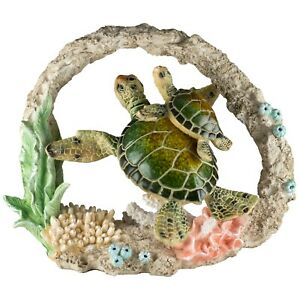 Green Sea Turtles Swimming With Coral Figurine 9.25 Inch Long Resin New In Box $41.99
