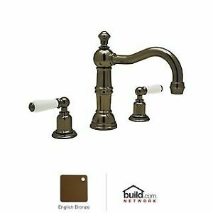 Rohl U.3720L-EB-2 Perrin and Rowe Widespread Bathroom Faucet with Pop-Up Drain a
