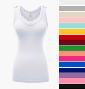Women#x27;s V Neck Tank Top Lace Trim Cotton Knit Stretch Casual Sleeveless Basic $12.99