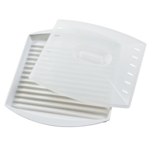 Microwave Bacon Grill Cooker Cookware Tray Rack Pan with Cover Kitchen White NEW