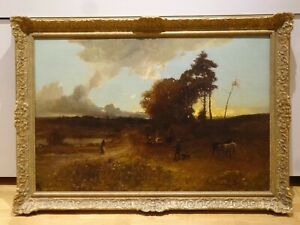 Huge 19th Century Sunset Travellers Landscape Cattle Sunset William Manners