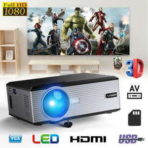 1080P 3D LED Projector Multimedia Home Theater 5000 Lumens VGA USB AV SD HDMI TV