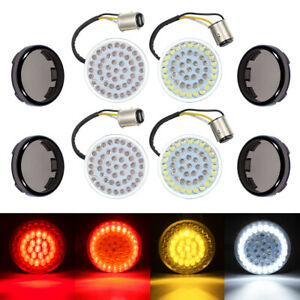 4x LED Bullet Style Turn Signals Light Inserts W/ Smoke Lens Fit For Harley USA