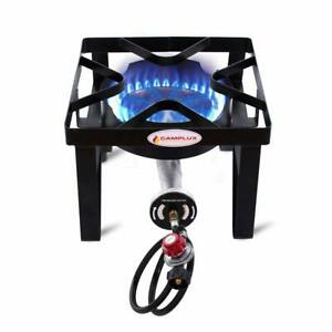 Camplux 200000BTU Propane Gas Single Burner Cast Iron Camp Stove with Stand
