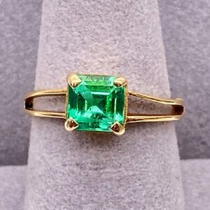 Emerald Lady's Stone Ring 18K Yellow Gold 2.67g Size:6.5 (GP3006950)