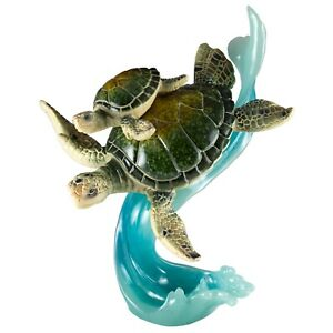 Green Sea Turtles Mother Baby Riding Wave Figurine 7.75 High Resin Statue New $41.99