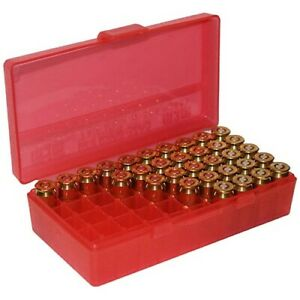 MTM P503829 Case-Gard Flip Top Clear Red 50 Round Ammo Box For 38 Special