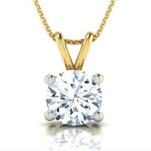 CLASSIC DESIGN 2.5 CARAT D VS1 ROUND DIAMOND PENDANT 18 K YELLOW GOLD NECKLACE