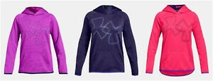New Under Armour Girls Fleece Dual Logo Hoodie Choose Size and Color MSRP $40.00
