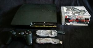 Sony PlayStation 3 PS3 Slim 120GB Console Controller 5 Game Bundle FREE SHIP!