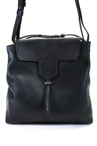 Tods Womens Adjustable Strap Handbag Shoulder Bag Black Leather Size Large