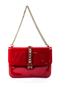 Valentino Patent Leather Medium Glam Lock Rock Stud Shoulder Bag Red Gold Tone