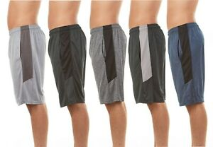 Men's Active Athletic Dry Fit Performance Shorts - 5 Pack