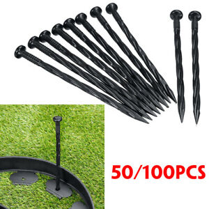 1050100 PCS Plastic Edging Nails Spiral Nylon Landscape StakeSpikes Camping