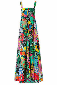 Emanuel Ungaro Women 4 (IT 40) Abstract Square Neck Maxi Dress $2200- #305