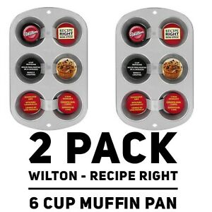 Set of 2 - Wilton Recipe Right Non-Stick 6-Cup Muffin Pans 2105-953
