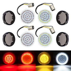 4x LED Bullet Style Turn Signals Light Inserts +Smoke Lens For Harley Sportsters