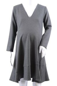 Hatch Maternity Day-To-Night charcoal S 1 weave flounced shift dress NEW $258