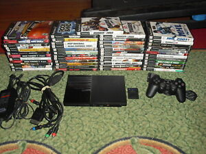 Playstation 2 PS2 Slim SCPH-90001 System w/ hook ups + HUGE 50 games LOT