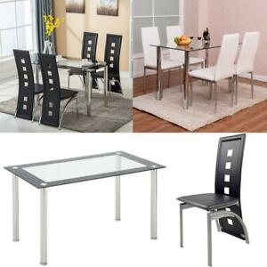 5 Piece Dining Set Glass Table and 4 Chairs Kitchen Breakfast Furniture New