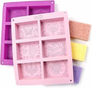 Rectangle Silicone Soap Molds Sets Of Two For 12 Cavities Mixed Patterns Durable