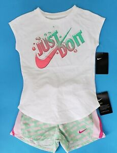 NEW~ GIRL'S NIKE DRY FIT 2 Piece OUTFIT Size 67 Pink & Green Shirt & Shorts NWT