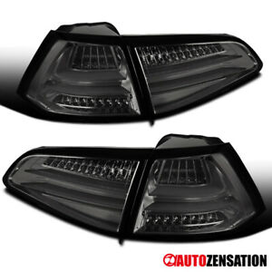 For 15-17 VW GTI Golf MK7 Smoke Full LED Replacement Tail Lights Brake Lamp Pair
