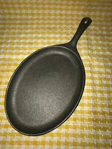 Oval cast iron griddle skillet 7x10quot; handle used camping crafting cooking GUC