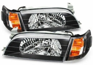 Fit For 93 97 Toyota Corolla JDM Black Crystal Headlights Lamps Headlamps
