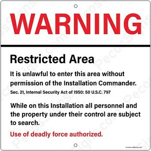 Area 51 Warning Restricted Area Unlawful to Enter 8x8 or 12x12 Aluminum Sign USA