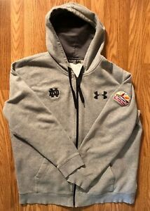 Notre Dame Football Team Issued Under Armour Full Zip Sweatshirt Fiesta Bowl 2xl