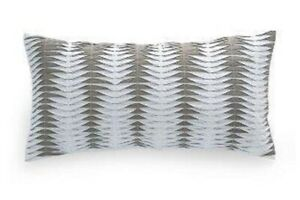 DKNY Willow Slate Grey Decorative Oblong Toss Pillow Ruched White Pleats NEW