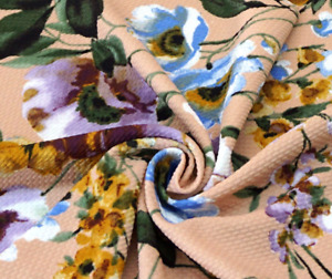 4 Way Stretch Peach Green Violet White Purple Flowers Bullet Fabric
