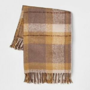 Threshold 60quot;x50quot; Faux Mohair Plaid Throw Blanket Gold