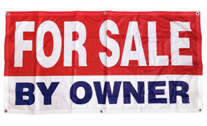 2x4 ft FOR SALE BY OWNER Banner Sign Polyester Fabric rb $13.99