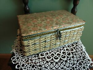 Vintage Dritz Sewing Basket with contents Celluloid top floral wicker 10 x 6.5 $10.99