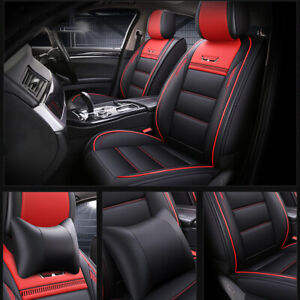 5-Seats Car Seat Cover Full Front+Rear Cushion Size L Deluxe PU Leather + Pillow