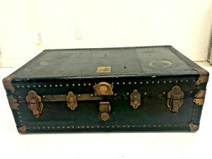 Vintage BLACK STEAMER TRUNK Belber military wood chest coffee table box base USA