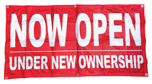 2x4 ft NOW OPEN UNDER NEW OWNERSHIP Banner Sign Polyester Fabric rb $15.95