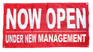2x4 ft NOW OPEN UNDER NEW MANAGEMENT Banner Sign Polyester Fabric rb $15.95