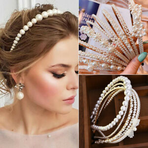 Women Elegant Big Pearl Headband Girls Crystal Hairband Hair Hoop Accessories