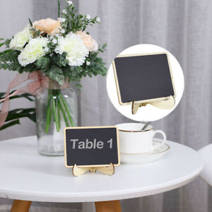 Wood Mini Chalkboard Signs Tags with Base Stand for Weddings Message Board Signs