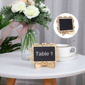 Wood Mini Chalkboard Signs Tags with Base Stands for Wedding Message Board Signs