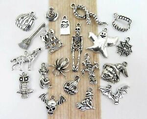 BOO 20 Different HALLOWEEN Charms Antique Silver Mixed Charm Collection Lot