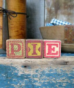 Antique Wood Blocks Spell PIE Free Shipping