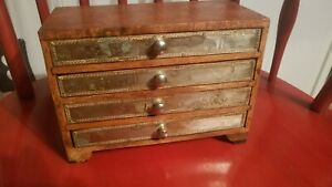 Primitive Antique Wood Box 4 Drawers w/ Metal Facing - Recipe, Jewelry, Trinket