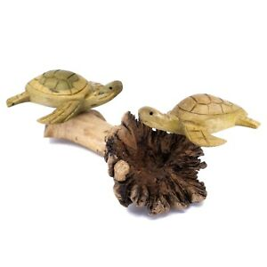 Unique Hand Carved Sea Turtles Figurine Carving On Parasite Wood 7.25 Long New $14.99