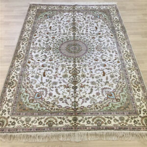 Yilong 6'x9' White Hand Knotted Carpets Vintage Hand Woven Silk Area Rugs 054C