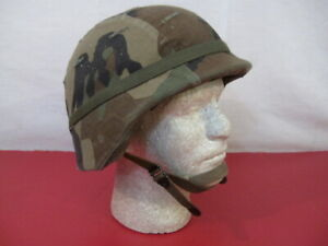 US Army PASGT Ground Troop Helmet made with Kevlar w/Woodland Camo Cover Med #3