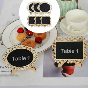 Wood Mini Chalkboard Signs Tags with Base Stand for Parties Message Board Sign